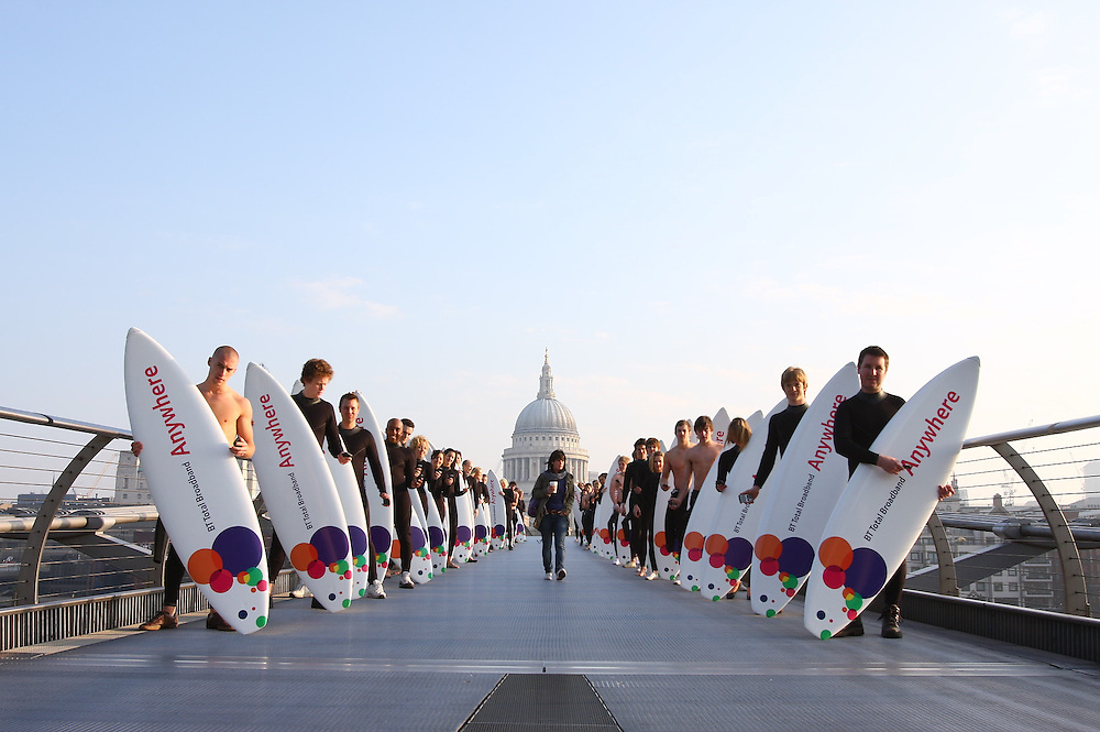 Surfers took over Millenium Bridge this morning to launch BT Total Broadband Anywhere, the most complete broadband experience, enabling you to use your broadband outside the home..