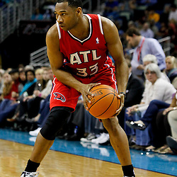 January 29, 2012; New Orleans, LA, USA; Atlanta Hawks shooting guard Willie Green (33) against the New Orleans Hornets during a game at the New Orleans Arena. The Hawks defeated the Hornets 94-72.  Mandatory Credit: Derick E. Hingle-US PRESSWIRE