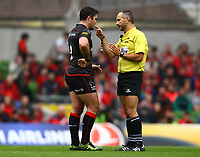 Rugby Union - 2016 / 2017 European Rugby Champions Cup - Semi-Final: Munster vs. Saracens<br /> <br /> Match official, Romain Poite, speaks to Saracens captain Brad Barritt at the Aviva Stadium, Dublin.<br /> <br /> COLORSPORT/KEN SUTTON