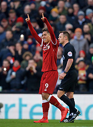 LIVERPOOL, ENGLAND - Saturday, February 24, 2018: Liverpool's Roberto Firmino celebrates scoring the third goal during the FA Premier League match between Liverpool FC and West Ham United FC at Anfield. (Pic by David Rawcliffe/Propaganda)