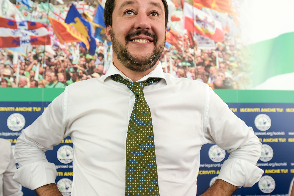 Foto Piero Cruciatti / LaPresse<br /> 24-06-2016 Milano, Italia<br /> Politics<br /> Conferenza stampa Matteo Salvini dopo il referendum Brexit a Milano<br /> Nella foto: Matteo Salvini<br /> Photo Piero Cruciatti / LaPresse <br /> 24-06-2016 Milan, Italy<br /> Politica<br /> Matteo Salvini press conference after the Brexit referendum<br /> In the Photo: Matteo Salvini