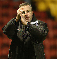 Photo: Aidan Ellis.<br /> Bradford City v Swansea City. Coca Cola League 1. 13/01/2007.<br /> Swansea's Kenny Jackett applauds the traveliing fans
