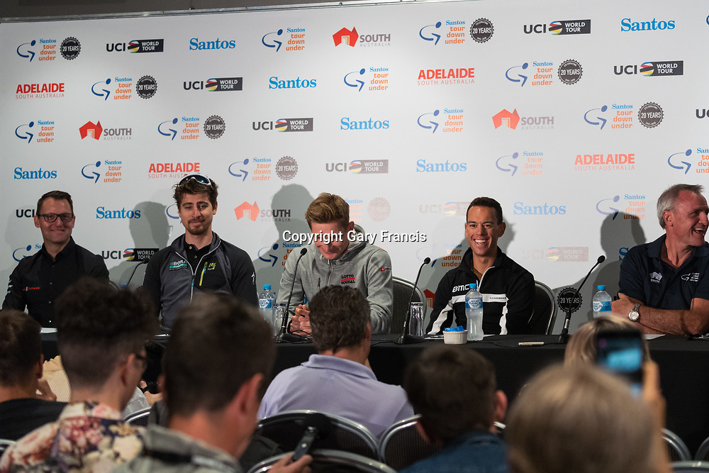 Richie Porte (BMC Racing Team)<br /> - 2017 World Champion, Peter Sagan (BORA hansgrohe)<br /> - Santos Tour Down Under stage win record holder, Andre Greipel (Lotto Soudal)<br /> - Team Director, Luke Roberts (Team Sunweb)<br /> - Santos Tour Down Under Race Director Mike Turtur at Media Conference for the Tour Down Under, Australia on the 13 of January 2018 ( Credit Image: &copy; Gary Francis / ZUMA WIRE SERVICE )