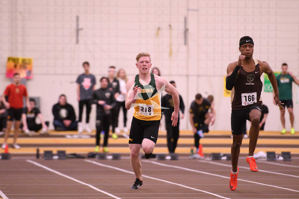 Dawson Bentz in action during the 2018 Canada West Track & Field Championship on February  24 at James Daly Fieldhouse. Credit: Arthur Ward/Arthur Images
