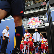 Thierry Henry, (left), New York Red Bulls and Chris Wondolowski, San Jose Earthquakes, lead their teams out before the New York Red Bulls Vs San Jose Earthquakes, Major League Soccer regular season match at Red Bull Arena, Harrison, New Jersey. USA. 19th July 2014. Photo Tim Clayton