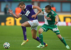 09.11.2014, Ernst Happel Stadion, Wien, AUT, 1. FBL, SK Rapid Wien vs FK Austria Wien, 15. Runde, im Bild Alexander Gruenwald (FK Austria Wien) und Christopher Dibon (SK Rapid Wien) // during a Austrian Football Bundesliga Match, 15th Round, between SK Rapid Vienna and FK Austria Vienna at the Ernst Happel Stadion, Wien, Austria on 2014/11/09. EXPA Pictures © 2014, PhotoCredit: EXPA/ Thomas Haumer