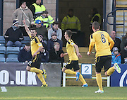 Mark Burchill celebrates after he had scored the only goal of the game - Dundee v Livingston,  SPFL Championship at Dens Park<br /> <br />  - &copy; David Young - www.davidyoungphoto.co.uk - email: davidyoungphoto@gmail.com