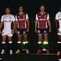 DURBAN, SOUTH AFRICA, December 3 2015 - Paul Jordaan with Dale Chadwick Andre Esterhuizen Daniel Du Preez Wandile Mjekevu and Sibusiso Sithole during The Cell C Sharks Official Launch and unveiling of The Cell C Sharks Super Rugby Jersey at Growthpoint Kings Park in Durban, South Africa. (Photo by Steve Haag)<br /> images for social media must have consent from Steve Haag