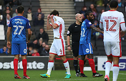 Joe Walsh of Milton Keynes Dons hides his face after being sent-off - Mandatory by-line: Joe Dent/JMP - 30/12/2017 - FOOTBALL - Stadium MK - Milton Keynes, England - Milton Keynes Dons v Peterborough United - Sky Bet League One