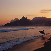 Surfers on the waters edge in a late afternoon beach scene at Arpoador Beach with Ipanema and Leblon beaches and the twin peaks of Dois Irmaos in the distance, Rio de Janeiro, Brazil. 12th July 2011. Photo Tim Clayton..