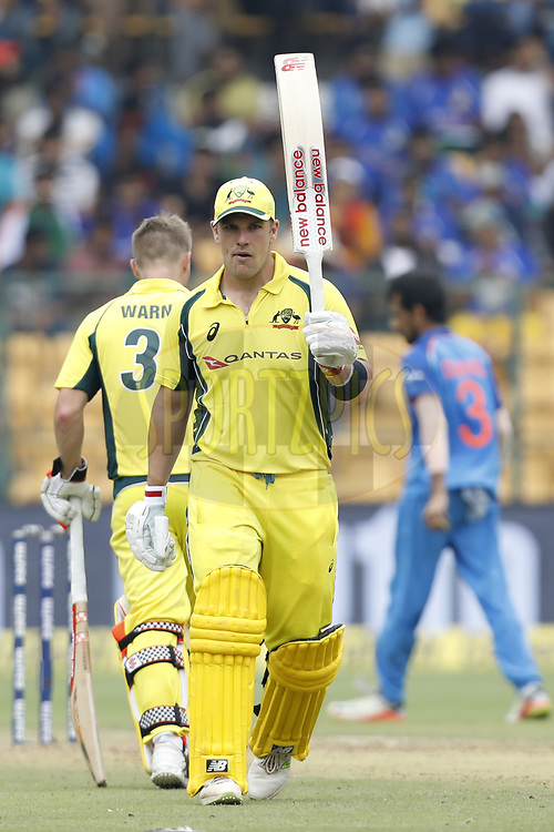 Aaron Finch of Australia celebrates his Fifty during the 4th One Day International between India and Australia held at the M. Chinnaswamy Stadium in Bengaluru on the 28th  September 2017<br /> <br /> Photo by Arjun Singh / BCCI / SPORTZPICS