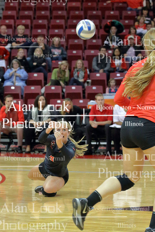 17 October 2015:  Courtney Pence(3) during an NCAA women's volleyball match between the Southern Illinois Salukis and the Illinois State Redbirds at Redbird Arena in Normal IL (Photo by Alan Look)