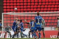 22.05.2008, Ratina, Tampere, Finland..Veikkausliiga 2008 - Finnish League 2008.Tampere United - FC KooTeePee.Mathias Lindstr?min pusku uppoaa (vas.) uppoaa Janne Henrikssonin vartioimaan KooTeePeen maalin ja TamU siirtyy 3-1 johtoon Ratinan tyhjien penkkirivien edess?.©Juha Tamminen.....ARK:k