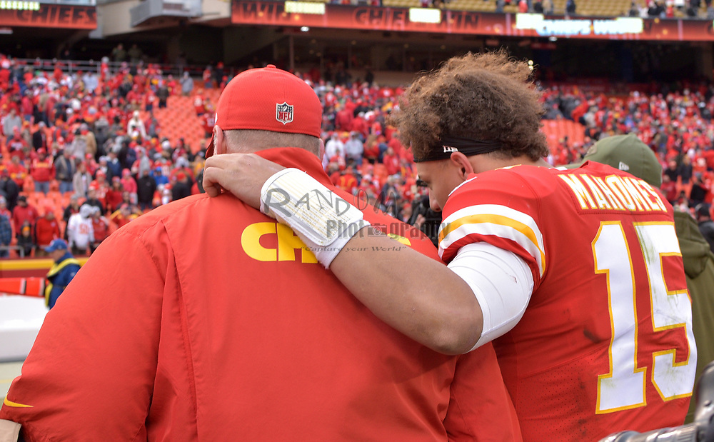 Nov 11, 2018; Kansas City, MO, USA; Kansas City Chiefs quarterback Patrick Mahomes (15) walks off the field with Kansas City Chiefs head coach Andy Reid after the game against the Arizona Cardinals at Arrowhead Stadium. The Chiefs won 26-14. Mandatory Credit: Denny Medley-USA TODAY Sports
