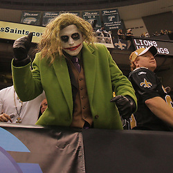 2008 October, 12: A New Orleans Saints fan dressed as the Joker in the stands during a week six regular season game between the Oakland Raiders and the New Orleans Saints at the Louisiana Superdome in New Orleans, LA.