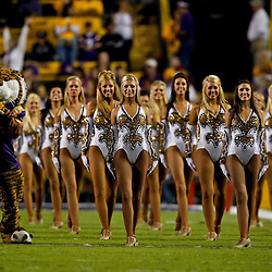 November 13, 2010; Baton Rouge, LA, USA; The LSU Golden Girls dance team performs with mascot Mike the Tiger prior to kickoff of a game between the LSU Tigers and the Louisiana Monroe Warhawks at Tiger Stadium. LSU defeated Louisiana-Monroe 51-0.  Mandatory Credit: Derick E. Hingle