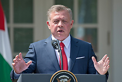 King Abdullah II of Jordan makes remarks as he and United States President Donald J. Trump conduct a joint press conference in the Rose Garden of the White House in Washington, DC on Wednesday, April 5, 2017.<br /> Credit: Ron Sachs / CNP *** Please Use Credit from Credit Field ***