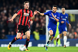 December 20, 2017 - London, Greater London, United Kingdom - Bournemouth's Dan Gosling battles with Chelsea Forward Pedro during the Carabao Cup Quarter - Final match between Chelsea and AFC Bournemouth at Stamford Bridge, London, England on 20 Dec 2017. (Credit Image: © Kieran Galvin/NurPhoto via ZUMA Press)