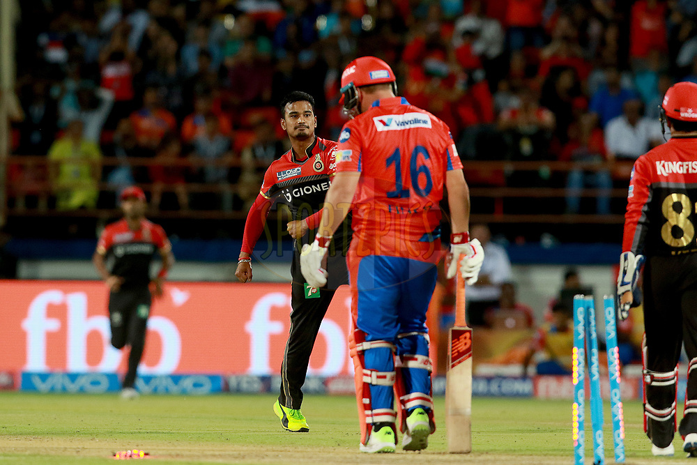 Pawan Negi of RCB celcbrates the wicket of Aaron Finch of GL during match 20 of the Vivo 2017 Indian Premier League between the Gujarat Lions and the Royal Challengers Bangalore  held at the Saurashtra Cricket Association Stadium in Rajkot, India on the 18th April 2017<br /> <br /> Photo by Rahul Gulati - Sportzpics - IPL
