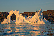 Icebergs from the icefjord, Ilulissat, Disko Bay, Greenland, Polar Region with midnight light