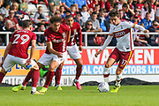 Bradford City midfielder Alex Gilliead wins the ball during the EFL Sky Bet League 1 match between Northampton Town and Bradford City at Sixfields Stadium, Northampton, England on 23 September 2017. Photo by Aaron  Lupton.