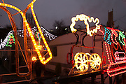 Christmas lights on the South Bermondsey Travellers' site, London