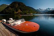 Powerboat at Ross Lake Resort, Ross Lake National Recreation Area, North Cascades National Park, Washington, US