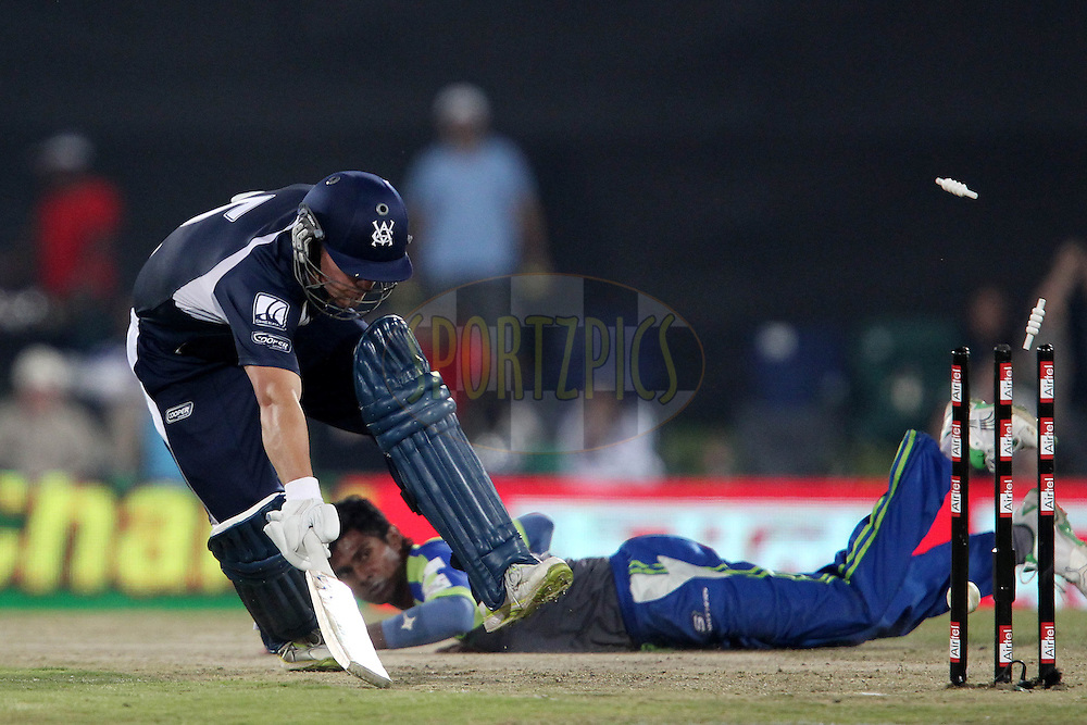 Aaron Finch of the Victorian Bushrangers is safe during match 16 of the Airtel CLT20 held between the Victorian Bushrangers and the Wayamba Elevens at Supersport Park in Centurion on the 20 September 2010..Photo by: Ron Gaunt/SPORTZPICS/CLT20