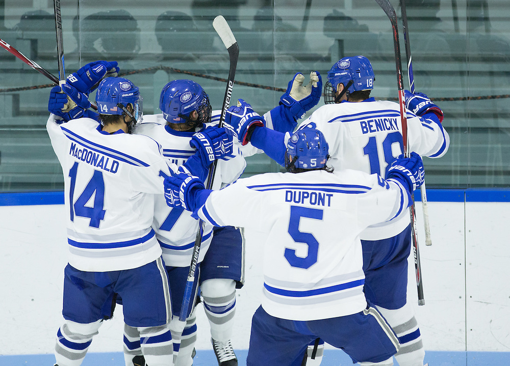 EJ Rauseo, Cam MacDonald, Geoff Sullivan, Mario Benicky, and Dan Dupont, of Colby College, in a NCAA Division III hockey game against the Middlebury College on November 16, 2014 in Waterville, ME. (Dustin Satloff/Colby College Athletics)