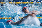 Andrzej Motyka SO Poland athlete in action while 25 meters backstroke competition during second day of the Special Olympics World Games Los Angeles 2015 on July 26, 2015 on Uytengsu Aquatics Centre at University of Southern California in Los Angeles, USA.<br /> USA, Los Angeles, July 26, 2015<br /> <br /> Picture also available in RAW (NEF) or TIFF format on special request.<br /> <br /> For editorial use only. Any commercial or promotional use requires permission.<br /> <br /> Adam Nurkiewicz declares that he has no rights to the image of people at the photographs of his authorship.<br /> <br /> Mandatory credit:<br /> Photo by &copy; Adam Nurkiewicz / Mediasport