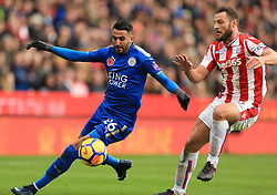 Riyad Mahrez of Leicester City turns Erik Pieters of Stoke City as he runs on to score - Mandatory by-line: Paul Roberts/JMP - 04/11/2017 - FOOTBALL - Bet365 Stadium - Stoke-on-Trent, England - Stoke City v Leicester City - Premier League