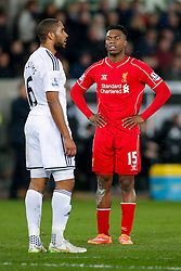 Daniel Sturridge of Liverpool looks frustrated as Ashley Williams of Swansea City looks on - Photo mandatory by-line: Rogan Thomson/JMP - 07966 386802 - 16/03/2015 - SPORT - FOOTBALL - Swansea, Wales — Liberty Stadium - Swansea City v Liverpool - Barclays Premier League.