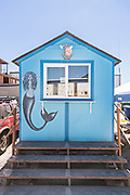 A tiny building with a mermaid mural in Petersburg, Mitkof Island, Alaska. Petersburg settled by Norwegian immigrant Peter Buschmann is known as Little Norway due to the high percentage of people of Scandinavian origin.