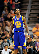 Jan. 2, 2012; Phoenix, AZ, USA; Golden State Warriors forward Dorell Wright (1) reacts on the court against the Phoenix Suns at the US Airways Center. The Suns defeated the Warriors 102-91. Mandatory Credit: Jennifer Stewart-US PRESSWIRE.