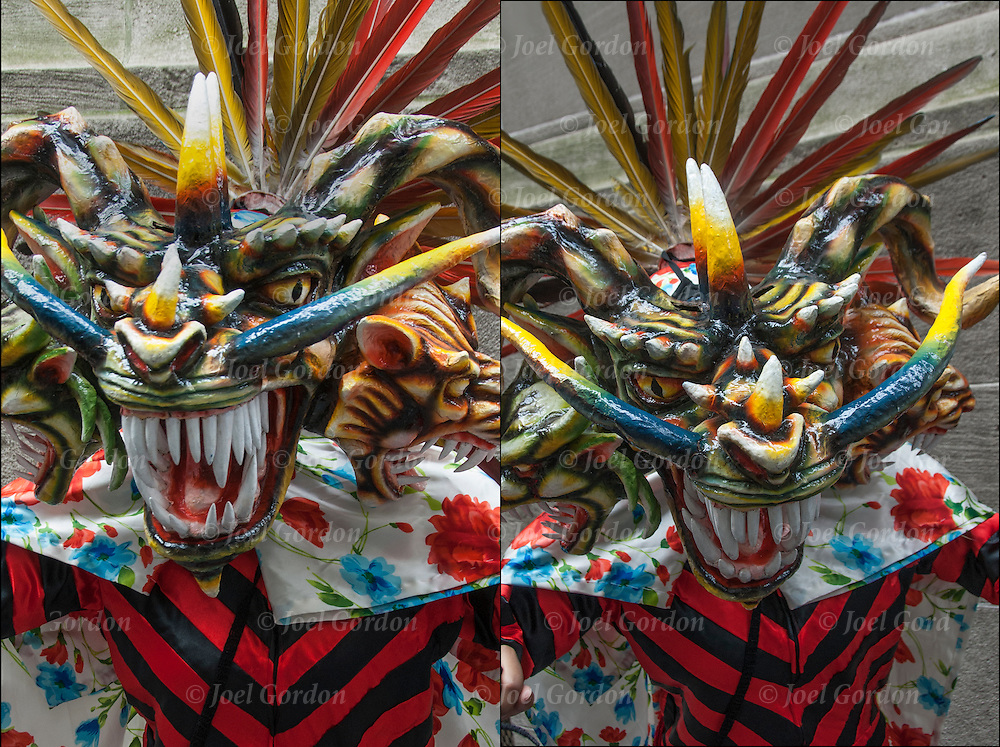 Diptych of Panama Devil Mask folk regalia showing his ethnic pride.