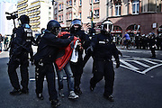 Frankfurt am Main | 18 Mar 2015<br /> <br /> Blockupy-Proteste in Frankfurt am 18.03.2015, hier: Polizeibeamte nehmen am Mittag am Ende der Zeil den italienischen Aktivisten Federico A. fest.<br /> #freefede<br /> <br /> photo &copy; peter-juelich.com
