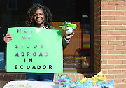 Student Ebony Porter sold cookie mix in a jar during Ohio University's Mom's Weekend on Court Street in order to raise funds for her study abroad trip to Ecuador.