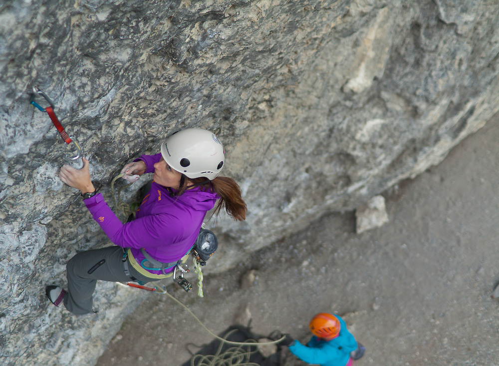 Emily Compton and Brent Peters Sport Climbing at Grassi Lakes in Canmore, Alberta