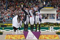 Podium GPS, 1 Dujardin Charlotte, (GBR), 2 Sprehe Kristina, (GER), 3 Minderhoud Hans Peter, (NED)<br /> Grand Prix Special<br /> European Championships - Aachen 2015<br /> © Hippo Foto - Dirk Caremans<br /> 15/08/15