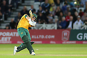 Luke Wood of Nottinghamshire Outlaws hitting out during the Vitality T20 Blast North Group match between Nottinghamshire County Cricket Club and Worcestershire County Cricket Club at Trent Bridge, West Bridgford, United Kingdon on 18 July 2019.