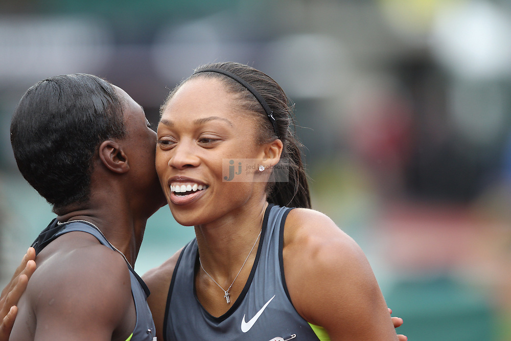 Allyson Felix (R) celebrates with Carmelita Jeter after winning the finals of the 200m during day 9 of the U.S. Olympic Trials for Track & Field at Hayward Field in Eugene, Oregon, USA 30 Jun 2012..(Jed Jacobsohn/for The New York Times)....