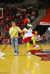 18 January 2009: Fredbird, the St. Louis Cardinals mascot, arrives at Redbird Arena with the Cardinals Caravan and steels the show at halftime. Fredbird turns a simple job as the celebrity sweeper into a complete 8 minute dance routine, even getting event security into the act. The Illinois State University Redbirds top the Missouri State Bears 68-56 on Doug Collins Court inside Redbird Arena on the campus of Illinois State University in Normal Illinois