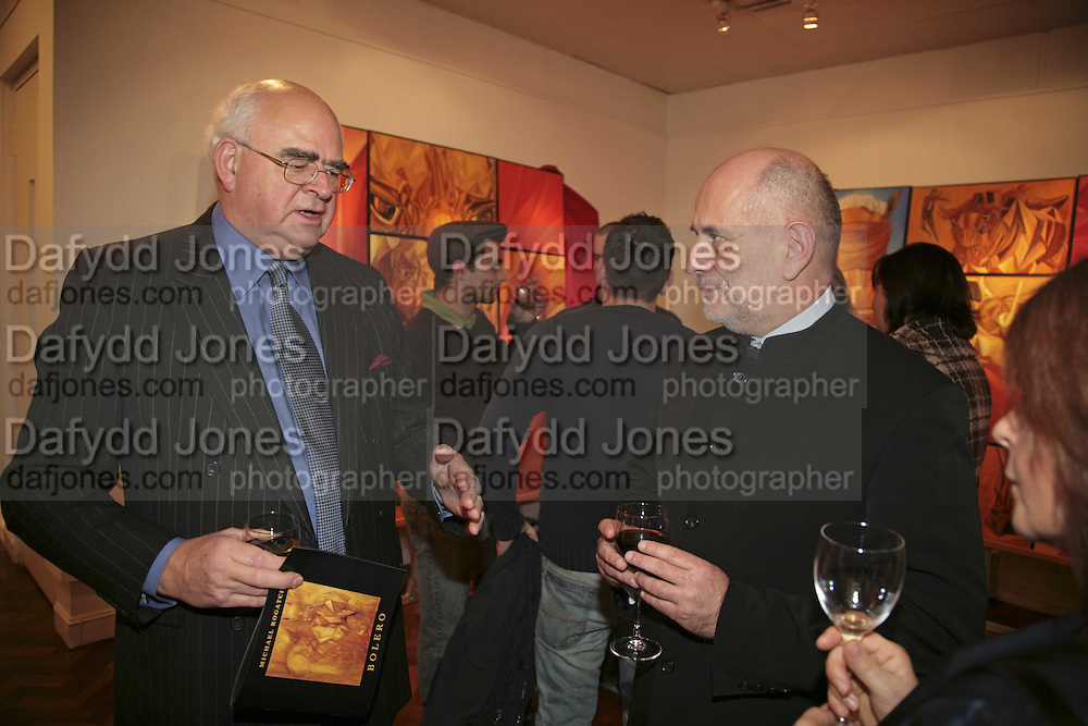 Sir John Hanson and Andrej  Jeziorek, The Real Dream, private view for an exhibition of work by Michael Rogatchi. Cork St. London.  5 December 2006. ONE TIME USE ONLY - DO NOT ARCHIVE  © Copyright Photograph by Dafydd Jones 248 CLAPHAM PARK RD. LONDON SW90PZ.  Tel 020 7733 0108 www.dafjones.com