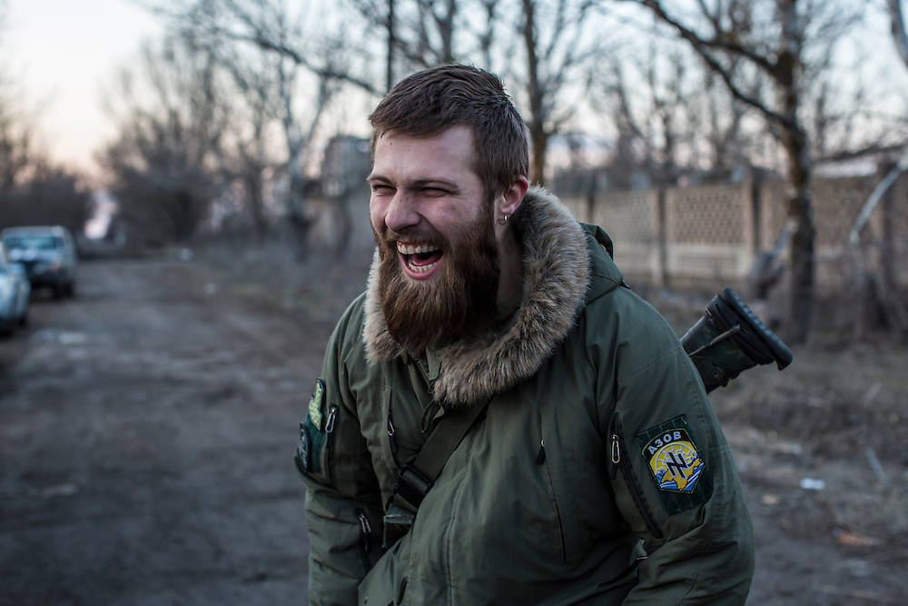 Alex, a drill sergeant with the Azov Brigade, supervises a weapons training at one of the group's training grounds on Saturday, March 7, 2015 in Kulykivske, Ukraine. Photo by Brendan Hoffman, Freelance