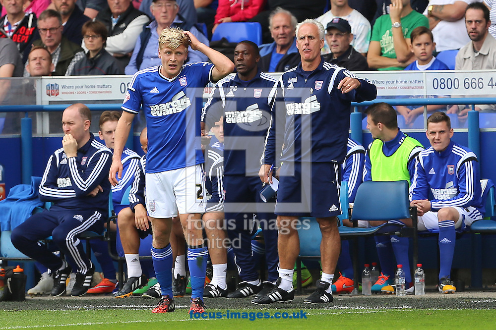 Manager of Ipswich Town, Mick McCarthy and Jonathan Parr look on during the Sky Bet Championship match at Portman Road, Ipswich<br /> Picture by Richard Calver/Focus Images Ltd +447792 981244<br /> 27/09/2014