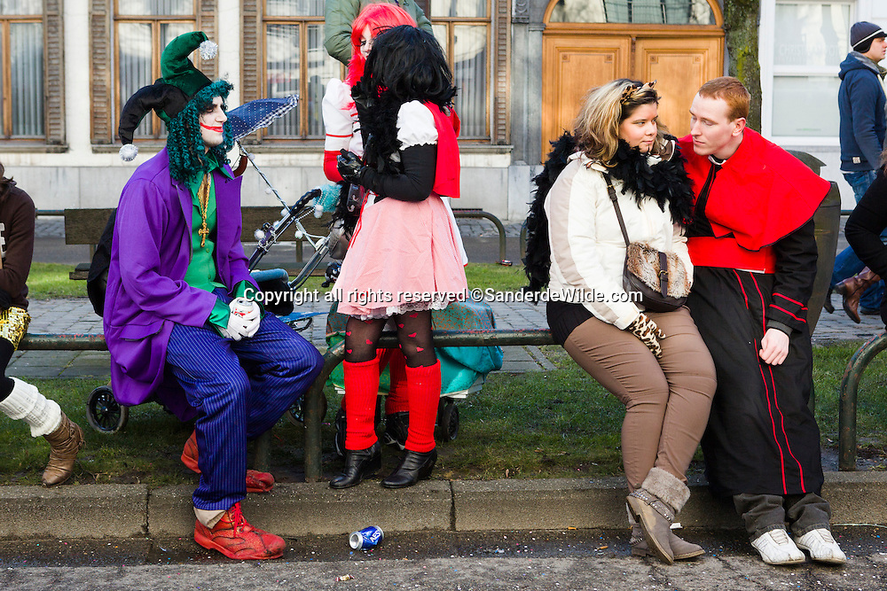 The crowds enjoying the event are in costumes theirselves too.  Belgium, Aalst, 19th of February 2012
