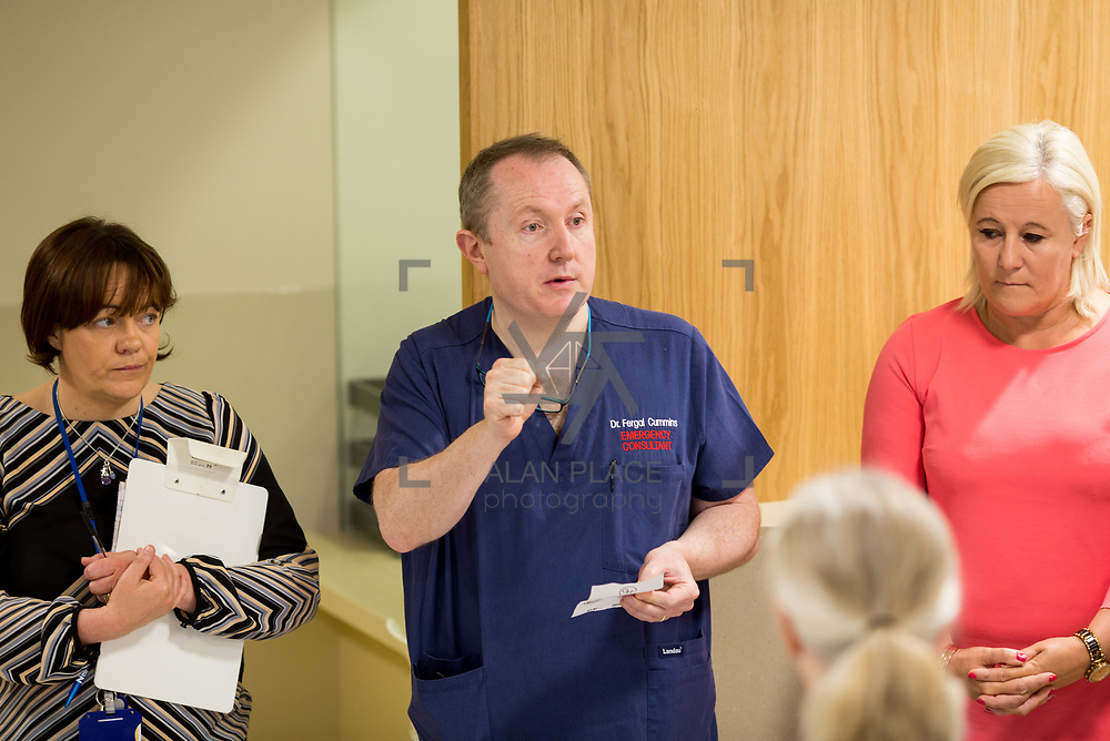 29.05. 2017.                                             <br /> IRELAND&rsquo;S largest and most advanced Emergency Department has opened this Monday at University Hospital Limerick.<br /> <br /> Addressing the new Emergency Department team before it opened its doors was Dr. Fergal Cummins, Consultant in Emergency Medicine.<br /> <br /> <br /> A &euro;24 million project (development and equipment costs), the ED spans 3,850 square metres of floor space, over three times the size of the old department. In 2016, UHL had the busiest ED in the country, with over 64,000 attendances. Picture: Alan Place