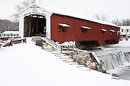 63904-03316 Bridgeton Covered Bridge in winter at Bridgeton, IN