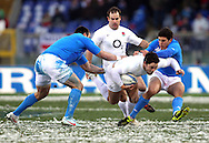 © Andrew Fosker / Seconds Left Images 2012 - England's Brad Barritt breaks between to defenders - Italy v England 11/02/2012 - RBS 6 Nations - Stadio Olimpico - Rome - Italy -  All rights reserved