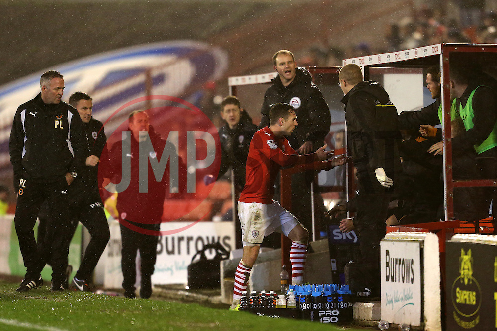 Josh Scowen of Barnsley attempts to grab the ball back from the Wolves bench, resulting in Barnsley manager Paul Heckingbottom being sent to the stands - Mandatory by-line: Matt McNulty/JMP - 31/01/2017 - FOOTBALL - Oakwell Stadium - Barnsley, England - Barnsley v Wolverhampton Wanderers - Sky Bet Championship